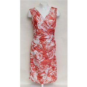Joseph Ribkoff Women's Orange/White Wrap Dress